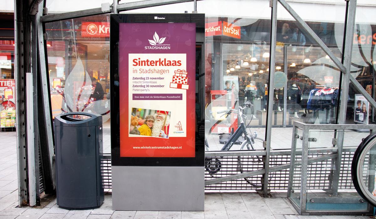 Ontwerp reclamezuil bushokje Stadshagen winkelcentrum
