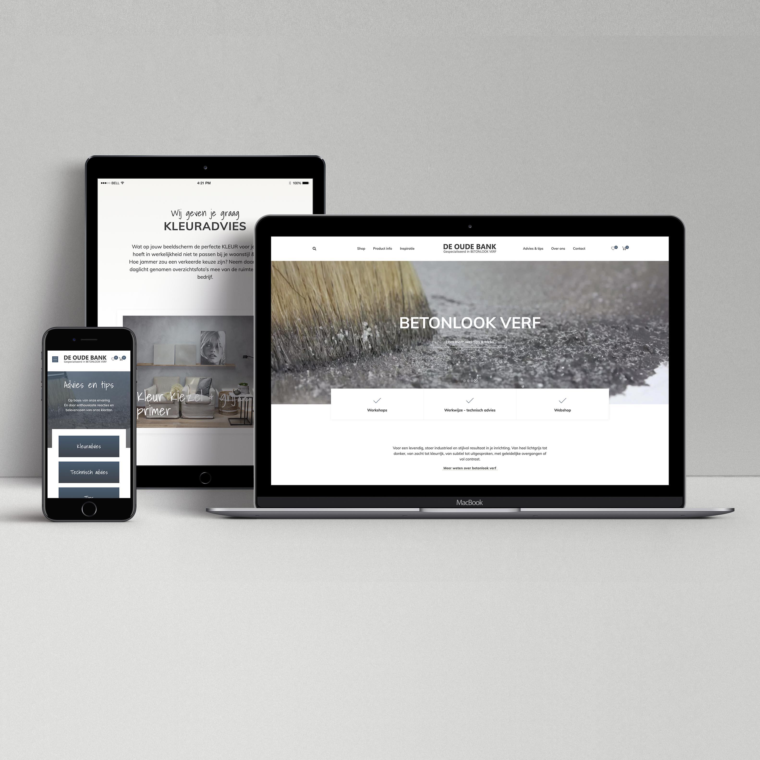 Oplevering website de oude bank betonlook op diverse schermen