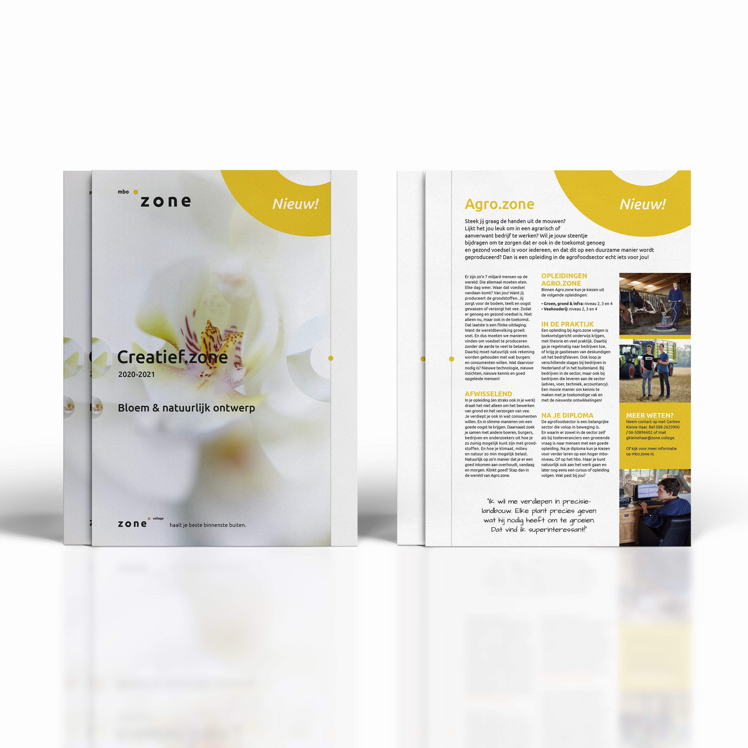Ontwerp brochure creatief zone zonecollege