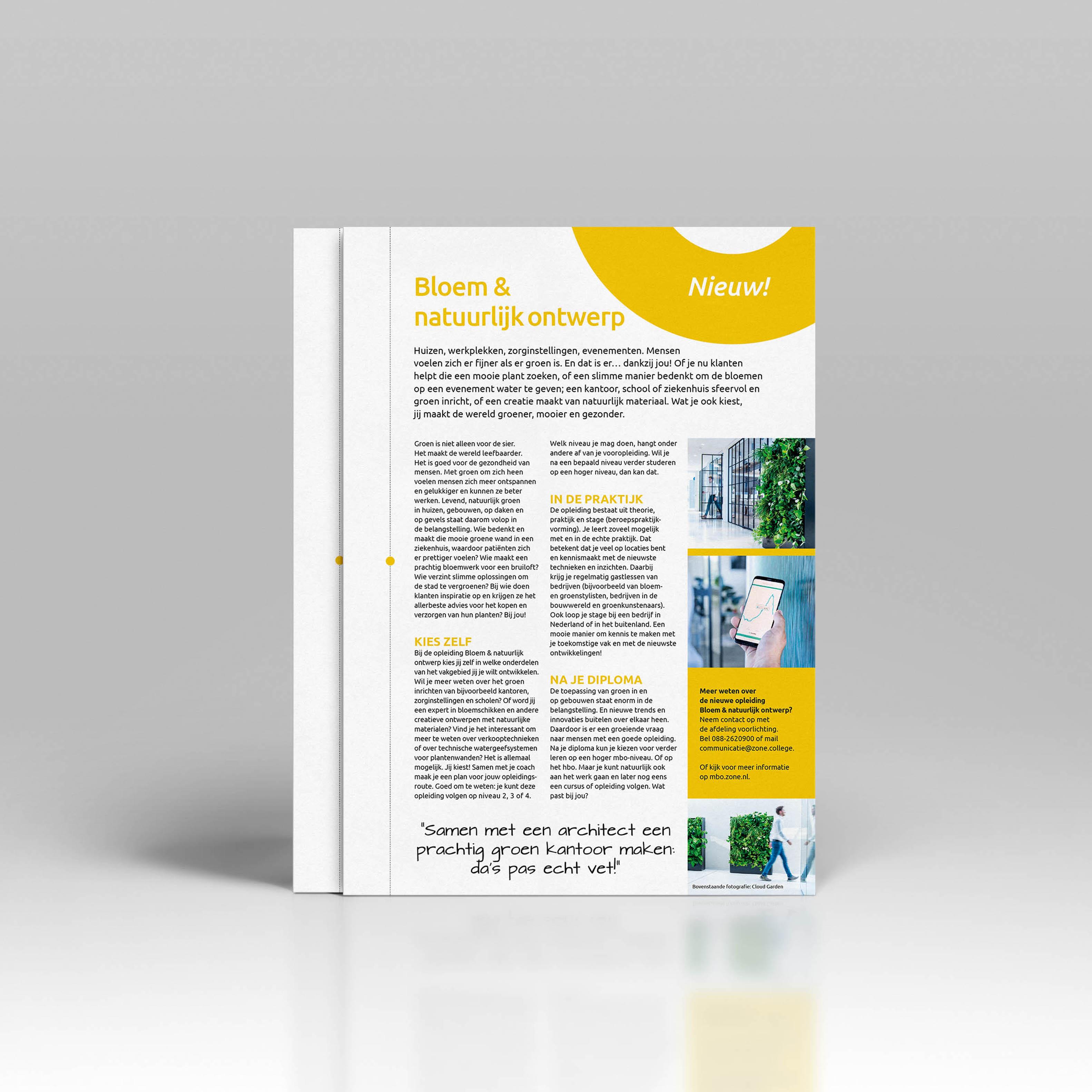 Ontwerp opleidingsblad bloem en natuurlijk ontwerp zonecollege