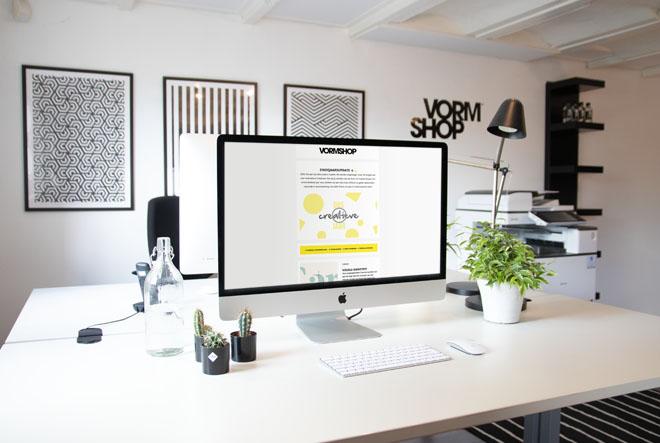 Kantoor Vormshop laptopscherm met nieuwsbrief